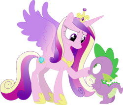 Size: 3584x3051 | Tagged: safe, artist:porygon2z, princess cadance, spike, alicorn, dragon, princess spike (episode), female, infidelity, interspecies, male, shipping, simple background, spikedance, straight, transparent background, vector
