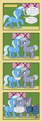 Size: 2318x6683 | Tagged: absurd res, angry, artist:pony4koma, bad end, best friends, boop, comic, dialogue, earth pony, eyes closed, fixing, happy, limestone pie, looking at each other, maud pie, noseboop, nose wrinkle, open mouth, pony, problem solved, rock farm, rock solid friendship, safe, smiling, sweat, trixie, unicorn