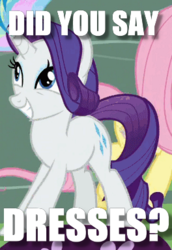 Size: 264x384 | Tagged: safe, edit, edited screencap, screencap, rarity, pony, cropped, cute, excited, fashion, image macro, meme, question, raribetes, that pony sure does love dresses, that pony sure does love fashion