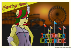 Size: 4880x3311 | Tagged: amusement park, anthro, artist:askthecookies, clothes, crossdressing, feather in hair, femboy, ferris wheel, flapper, jewelry, lipstick, male, necklace, oc, oc:attraction, oc only, pearl necklace, pegasus, postcard, roller coaster, safe, trap
