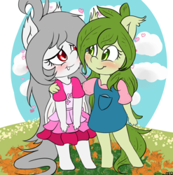 Size: 2300x2324 | Tagged: anthro, artist:freefraq, chibi, clothes, cute, dress, oc, oc:flower, oc:lai chi, safe