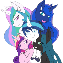Size: 2913x2903 | Tagged: safe, artist:larrykitty, princess cadance, princess celestia, princess luna, queen chrysalis, shining armor, harem, looking at you, lucky bastard, male, shining armor gets all the mares, shining chrysalis, shiningcadance, shininglestia, shiningluna, shipping, smiling, smirk, smug, straight, worried