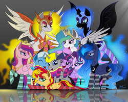 Size: 2500x2000 | Tagged: safe, artist:duskie-06, daybreaker, nightmare moon, princess cadance, princess celestia, princess luna, starlight glimmer, sunset shimmer, trixie, twilight sparkle, oc, oc:quentin, alicorn, pony, unicorn, a royal problem, alicorn oc, bedroom eyes, clothes, commission, female, lucky bastard, mare, reflection, royal sisters, smiling, socks, striped socks, thigh highs, twilight sparkle (alicorn)