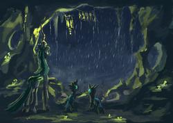 Size: 1527x1080 | Tagged: safe, artist:plainoasis, queen chrysalis, changeling, changeling queen, cavern, looking away, night, rain, teru teru bozu, trio, wind chime
