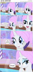 Size: 3300x7256 | Tagged: safe, artist:perfectblue97, pinkie pie, rarity, pony, comic:without magic, absurd resolution, bubble, comic, fart, fart noise, farting bubbles, onomatopoeia, royal guard, sound effects, spa, towel