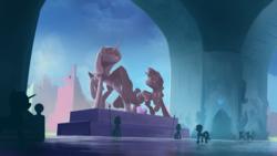Size: 1920x1080 | Tagged: safe, artist:shamanguli, princess cadance, shining armor, alicorn, pony, unicorn, armor, crystal empire, crystal guard, crystal guard armor, epic, female, helmet, majestic, male, mare, royal guard, scenery, shiningcadance, shipping, silhouette, stallion, statue, straight