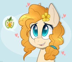 Size: 1347x1177 | Tagged: safe, artist:higgly-chan, pear butter, pony, the perfect pear, cute, female, flower, flower in hair, heart, implied bright mac, mare, pearabetes, smiling, solo