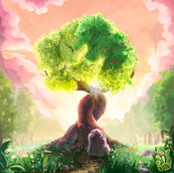Size: 900x897   Tagged: safe, artist:nemo2d, the perfect pear, apple, apple tree, cloud, crepuscular rays, food, fruit, grass, intertwined trees, nature, no pony, pear, pear tree, rock, sky, tree, when you see it