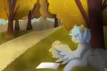 Size: 3000x2000 | Tagged: artist:liefsong, autumn, commission, forest, oc, oc only, oc:silver lining, path, pencil, pony, safe, solo, wing hands