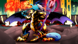 Size: 2560x1440 | Tagged: safe, artist:dormin-kanna, princess ember, dragon, gauntlet of fire, armor, bloodstone scepter, dragon lord ember, dragoness, fangs, female, fire, solo, spread wings, wings