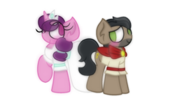 Size: 1854x1120 | Tagged: safe, artist:thefanficfanpony, doctor caballeron, sugar belle, pony, alternate universe, cabelle, shipping, simple background, transparent background