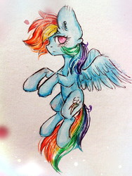 Size: 810x1080 | Tagged: safe, artist:zefirka, rainbow dash, pegasus, pony, abstract background, female, flying, looking at you, mare, no pupils, solo, traditional art, windswept mane