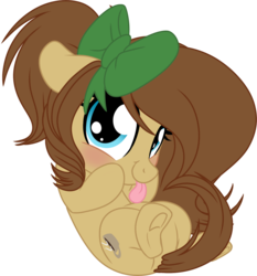 Size: 1024x1099 | Tagged: safe, artist:kellythedrawinguni, oc, oc only, oc:mocha latte, earth pony, pony, chibi, cute, female, looking at you, mare, simple background, solo, tongue out, transparent background, underhoof