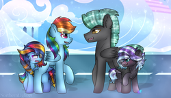 Size: 1024x585 | Tagged: artist:northlights8, blushing, colored pupils, colt, ear fluff, female, filly, flight camp, freckles, male, mare, oc, oc:brisk dawn, oc:tanzanite, offspring, parent:rainbow dash, parent:rarity, parent:soarin', parents:rarilane, parents:soarindash, parent:thunderlane, pegasus, pony, rainbow dash, raised hoof, safe, stallion, story included, thunderlane