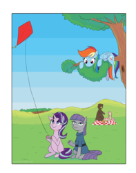 Size: 1280x1621 | Tagged: artist:gintoki23, bear, boulder (pet), fluttershy, kite, kite flying, maud pie, picnic, pony, rabbit, rainbow dash, rock, rock solid friendship, safe, spoiler:s07e04, squirrel, starlight glimmer, that pony sure does love kites, that pony sure does love rocks, tree