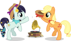 Size: 9336x5361   Tagged: safe, artist:jhayarr23, applejack, coloratura, earth pony, pony, absurd resolution, cute, dancing, duo, female, lesbian, looking at each other, mare, rarajack, shipping, simple background, smiling, transparent background