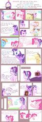Size: 1185x3444 | Tagged: safe, artist:yuck, angel bunny, applejack, fluttershy, pinkie pie, rainbow dash, rarity, starlight glimmer, sunset shimmer, twilight sparkle, alicorn, earth pony, pegasus, pony, unicorn, equestria girls, book, colored pupils, comic, cupcake, dialogue, female, food, lesbian, levitation, magic, mare, sad, shimmerglimmer, shipping, telekinesis