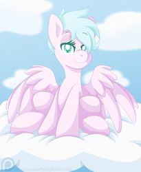 Size: 1569x1917 | Tagged: artist:pearlyiridescence, cloud, female, lidded eyes, mare, oc, oc only, pegasus, pony, safe, short hair, sitting, smiling, solo, spread wings, wings