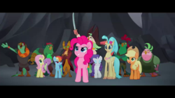 Size: 1280x720   Tagged: safe, screencap, applejack, boyle, capper dapperpaws, captain celaeno, fluttershy, lix spittle, mullet (character), murdock, pinkie pie, princess skystar, rainbow dash, rarity, spike, anthro, classical hippogriff, dragon, hippogriff, parrot pirates, my little pony: the movie, official, pirate