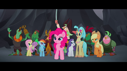 Size: 1920x1080   Tagged: safe, screencap, applejack, boyle, capper dapperpaws, captain celaeno, fluttershy, lix spittle, mullet (character), murdock, pinkie pie, princess skystar, rainbow dash, rarity, spike, anthro, classical hippogriff, dragon, hippogriff, parrot pirates, my little pony: the movie, mane six, pirate, squabble