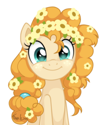 Size: 957x1125 | Tagged: safe, artist:tina-de-love, pear butter, earth pony, pony, the perfect pear, bust, cute, daaaaaaaaaaaw, female, floral head wreath, flower, flower in hair, hnnng, looking at you, mare, pearabetes, portrait, simple background, smiling, solo, transparent background