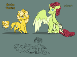Size: 1600x1186 | Tagged: artist:torusthescribe, magical lesbian spawn, oc, oc:golden fantasy, oc:mozart, offspring, parent:fluttershy, parent:pinkie pie, parent:pokey pierce, parents:flutterhugger, parents:pokeypie, parent:tree hugger, pegasus, pony, reference sheet, safe, unicorn
