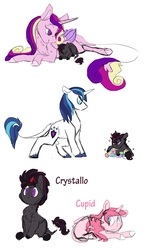 Size: 1600x2668 | Tagged: artist:torusthescribe, colt, crystal, female, filly, male, oc, oc:crystallo, oc:cupid, offspring, parent:princess cadance, parent:shining armor, parents:shiningcadance, pony, princess cadance, prone, safe, shining armor, unicorn