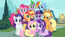 Size: 1436x808 | Tagged: dead source, safe, artist:dilemmas4u, applejack, fluttershy, pinkie pie, rainbow dash, rarity, spike, starlight glimmer, sunset shimmer, twilight sparkle, alicorn, dragon, earth pony, pegasus, pony, unicorn, equestria girls, alicornified, discussion in the comments, female, looking at you, magical quartet, magical quintet, magical trio, male, mane eight, mane nine, mane seven, mane six, mare, race swap, shimmercorn, show accurate, smiling, twilight sparkle (alicorn)