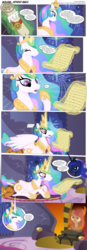 Size: 3300x9480 | Tagged: safe, artist:perfectblue97, pinkie pie, princess celestia, princess luna, twilight sparkle, bear, earth pony, pony, comic:without magic, absurd resolution, blank flank, canterlot castle, comic, crying, earth pony twilight, fart, fart noise, fireplace, onomatopoeia, outhouse, pinkamena diane pie, scroll, sound effects