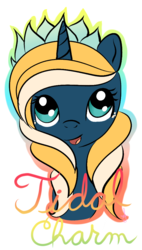 Size: 575x1012 | Tagged: aqua pony, artist:silversthreads, cute, cutie, female, filly, flower, oc, oc only, oc:tidal charm, original species, prize, safe, simple background, solo, transparent background, unicorn