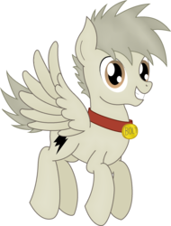 Size: 1427x1876 | Tagged: safe, artist:soulakai41, oc, oc only, oc:bolt the super pony, pegasus, pony, collar, flying, male, simple background, solo, stallion, transparent background