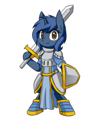 Size: 750x1000 | Tagged: safe, artist:rice, oc, oc only, oc:starlight blossom, pony, unicorn, semi-anthro, armor, bipedal, boots, fantasy class, female, filly, knight, shield, simple background, solo, sword, transparent background, warrior, weapon