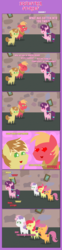 Size: 1205x4884 | Tagged: safe, artist:estories, apple bloom, big macintosh, feather bangs, scootaloo, sugar belle, sweetie belle, pony, hard to say anything, absurd resolution, bet, comic, cutie mark, cutie mark crusaders, feathermac, female, filly, gay, heart, heart eyes, male, money, pointy ponies, shipping, the cmc's cutie marks, wingding eyes