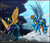 Size: 2845x2429   Tagged: safe, artist:midfire, indigo zap, rainbow dash, pegasus, pony, clothes, cloud, costume, day, equestria girls ponified, goggles, high res, lightning, night, ponified, raised hoof, shadowbolts costume, spread wings, uniform, wings, wonderbolts uniform