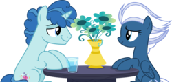 Size: 6305x3000 | Tagged: safe, artist:dashiesparkle, night glider, party favor, pegasus, pony, unicorn, hard to say anything, .svg available, absurd resolution, cup, duo, flower, glass, lidded eyes, looking at each other, partyglider, simple background, smiling, table, transparent background, vase, vector, water