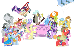 Size: 1182x785 | Tagged: safe, artist:dm29, angel bunny, big macintosh, bow hothoof, chipcutter, discord, doctor fauna, feather bangs, fluttershy, maud pie, pinkie pie, princess flurry heart, rainbow dash, rarity, scootaloo, starlight glimmer, sugar belle, sweetie belle, thorax, trixie, twilight sparkle, whammy, wild fire, windy whistles, alicorn, changedling, changeling, pony, a flurry of emotions, all bottled up, celestial advice, fluttershy leans in, forever filly, hard to say anything, parental glideance, rock solid friendship, anger magic, bottled rage, camera, cinnamon nuts, clothes, cup, equestrian pink heart of courage, female, food, heart, heart eyes, helmet, hug, jalapeno red velvet omelette cupcakes, king thorax, kite, magic, male, mining helmet, pizza costume, pizza head, rainbow dash's parents, reformed four, shipping, shopping cart, simple background, statue, stingbush seed pods, straight, sugarmac, teacup, that pony sure does love kites, that pony sure does love teacups, the meme continues, the story so far of season 7, this isn't even my final form, twilight sparkle (alicorn), uniform, wall of tags, white background, windyhoof, wingding eyes, wonderbolts uniform