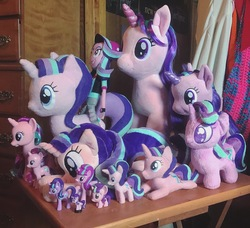 Size: 1364x1242 | Tagged: safe, artist:kazzysart, artist:lilmoon, artist:lucaspratt, starlight glimmer, pony, unicorn, equestria girls, mirror magic, spoiler:eqg specials, aurora, beanie, beanie (plushie), build-a-bear, collection, doll, egmont, figure, hat, human ponidox, humans riding ponies, irl, mcdonald's happy meal toys, multeity, photo, plushie, riding, self ponidox, self riding, starlight cluster, toy