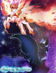 Size: 1024x1325 | Tagged: safe, artist:animechristy, daybreaker, nightmare moon, alicorn, pony, a royal problem, confrontation, duo, fangs, female, helmet, looking at each other, royal sisters, sisters, stars