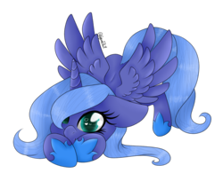 Size: 3160x2580 | Tagged: safe, artist:minelvi, artist:sweet1art, princess luna, alicorn, pony, collaboration, cute, face down ass up, female, floppy ears, heart eyes, looking at you, lunabetes, princess shoes, s1 luna, signature, simple background, smiling, solo, spread wings, transparent background, wingding eyes, wings