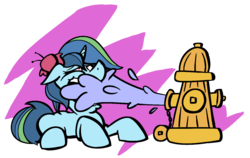 Size: 1250x789 | Tagged: safe, artist:cowsrtasty, oc, oc only, oc:fiji, pony, unicorn, abstract background, female, fire hydrant, floppy ears, flower, flower in hair, humor, lidded eyes, mare, multicolored hair, multicolored tail, open mouth, prone, simple background, smiling, solo, transparent background, water