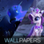 Size: 450x450 | Tagged: safe, artist:ajvl, artist:darkflame75, edit, princess luna, princess platinum, rarity, alicorn, pony, cropped, crown, female, forest, grass, happy, jewelry, looking up, mare, moon, night, regalia, river, scenery, smiling, snow, snowfall, spread wings, tree, water, wings