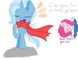 Size: 1300x1000 | Tagged: safe, artist:scootalightheartoc, pinkie pie, trixie, earth pony, pony, unicorn, clothes, crossover, duo, eyes closed, female, mare, papyrus (undertale), sans (undertale), sans pie, scarf, simple background, the great and powerful papyrus, undertale, white background