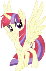 Size: 1861x2833 | Tagged: safe, artist:luckyclau, moondancer, alicorn, pony, alicornified, backwards cutie mark, female, mare, moondancercorn, race swap, recolor, simple background, solo, spread wings, transparent background, wings