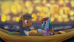Size: 1600x900 | Tagged: safe, artist:pacificgreen, ahuizotl, quibble pants, rainbow dash, pony, alternate hairstyle, boat, disney, eye contact, flower, flower in hair, flynn rider, holding hooves, i see the light, lantern, looking at each other, male, pascal, quibbledash, rapunzel, shipping, straight, tangled