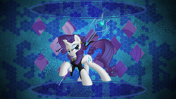 Size: 3840x2160 | Tagged: artist:laszlvfx, artist:ratchethun, clothes, edit, high res, pony, rarity, safe, solo, staff, wallpaper, wallpaper edit