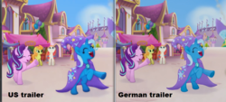 Size: 1165x528 | Tagged: safe, edit, edited screencap, screencap, cantaloupe (character), dawn sunrays, starlight glimmer, trixie, earth pony, pony, unicorn, my little pony: the movie, background pony, canterlot, cape, clothes, comparison, cropped, eyes closed, female, happy, hat, looking up, mare, raised hoof, rearing, trixie's cape, trixie's hat