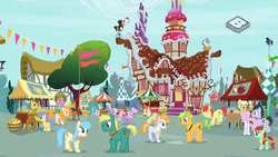 Size: 640x360 | Tagged: background pony, brightbutter, bright mac, building, earth pony, female, filly, grand pear, granny smith, male, mare, pear butter, pearly stitch, pony, ponyville, safe, screencap, shipping, stallion, straight, sugarcube corner, the perfect pear, unnamed pony, younger, young grand pear, young granny smith, you're in my head like a catchy song, youtube link