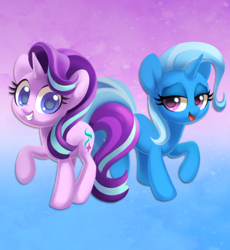 Size: 855x929   Tagged: safe, artist:dawnfire, starlight glimmer, trixie, pony, unicorn, abstract background, cute, duo, lidded eyes, looking at you, smiling