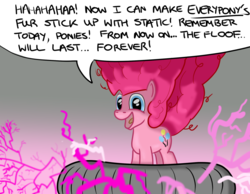 Size: 1080x840 | Tagged: safe, artist:hoofclid, pinkie pie, pony, cute, evil laugh, faic, fluffy, happy, nightmare pinkie, nightmarified, pure unfiltered evil, smiling, solo, static electricity, tesla coil, xk-class end-of-the-world scenario
