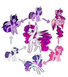Size: 2300x2600 | Tagged: safe, artist:ogaraorcynder, pinkie pie, rarity, twilight sparkle, alicorn, earth pony, pony, unicorn, colored wings, female, fusion, fusion diagram, hexafusion, mare, multicolored wings, one eye closed, open mouth, simple background, tongue out, twilight sparkle (alicorn), white background